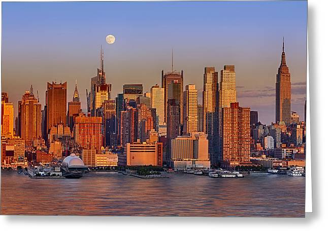 New York City Skyline Full Moon And Sunset Greeting Card by Susan Candelario