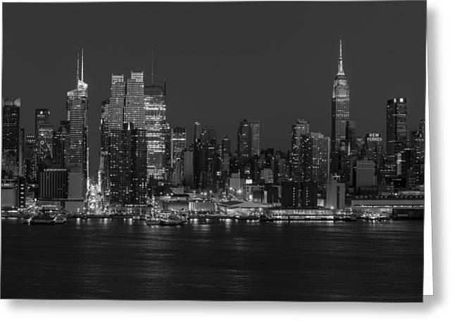 Night-scape Greeting Cards - New York City Skyline In Christmas Colors BW Greeting Card by Susan Candelario