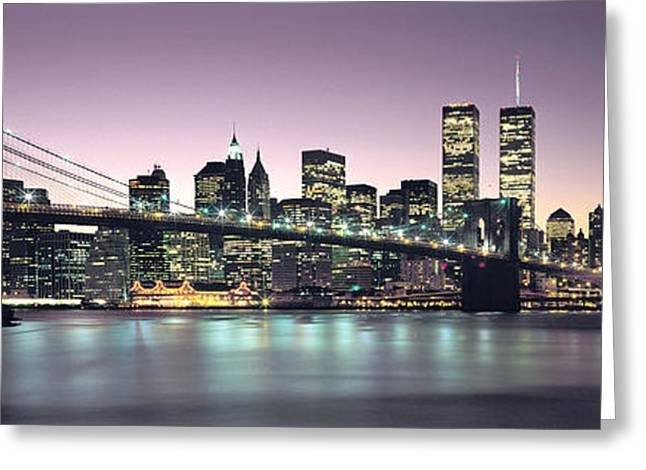 Twin Towers Greeting Cards - New York City Skyline Greeting Card by Jon Neidert