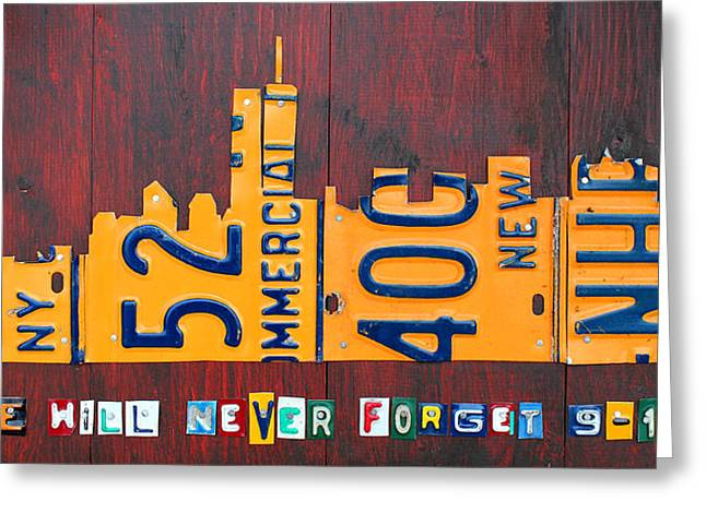 Twin Towers Greeting Cards - New York City Skyline License Plate Art 911 Twin Towers Statue of Liberty Greeting Card by Design Turnpike