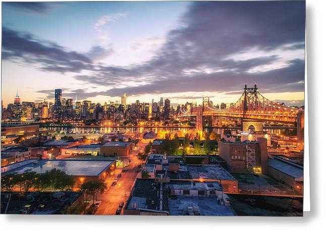 Midtown Greeting Cards - New York City Skyline - Lights at Dusk Greeting Card by Vivienne Gucwa