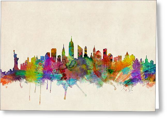 Watercolour Greeting Cards - New York City Skyline Greeting Card by Michael Tompsett