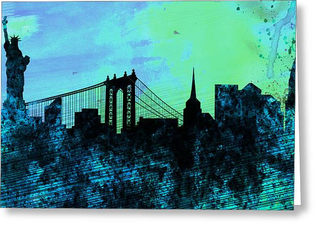 Central Park Digital Art Greeting Cards - New York City Skyline Greeting Card by Naxart Studio