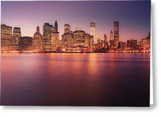 Nyc Architecture Greeting Cards - New York City Skyline - Night Lights Greeting Card by Vivienne Gucwa
