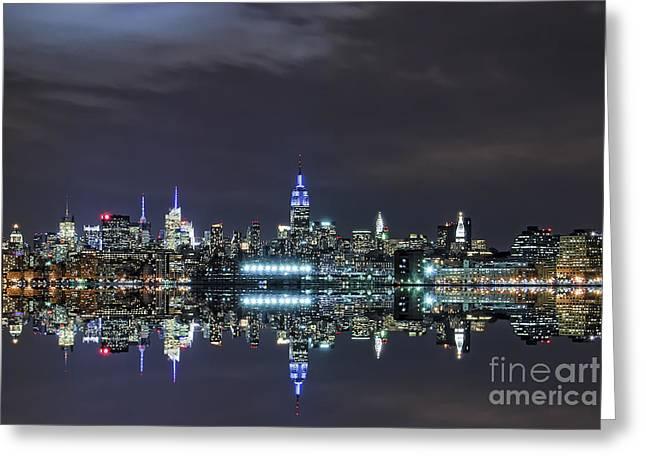 Busybee Greeting Cards - New York City Skyline Night USA Greeting Card by Sabine Jacobs