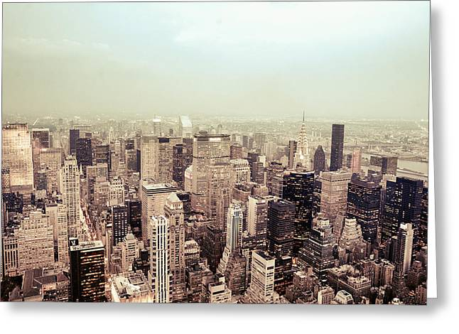 Haze Photographs Greeting Cards - New York City - Skyline on a Hazy Evening Greeting Card by Vivienne Gucwa