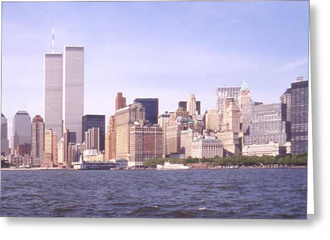 Twin Towers Greeting Cards - New York City Skyline Panoramic Greeting Card by Mike McGlothlen