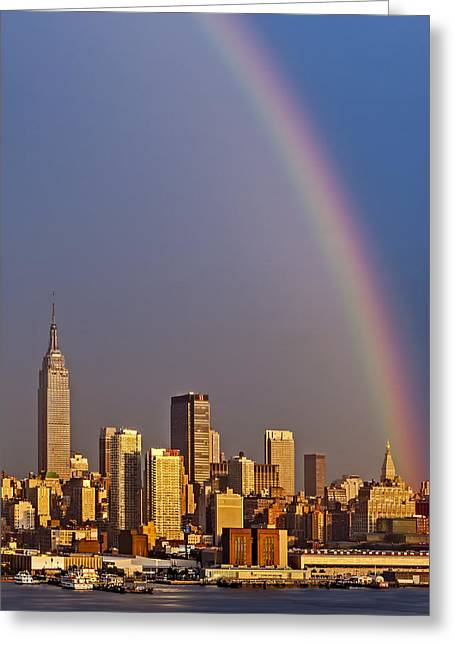 New York City Skyline Rainbow Greeting Card by Susan Candelario