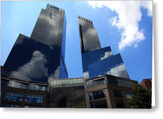 Citylife Greeting Cards - New York City Skyline Reflecting Clouds Greeting Card by Wayne Moran