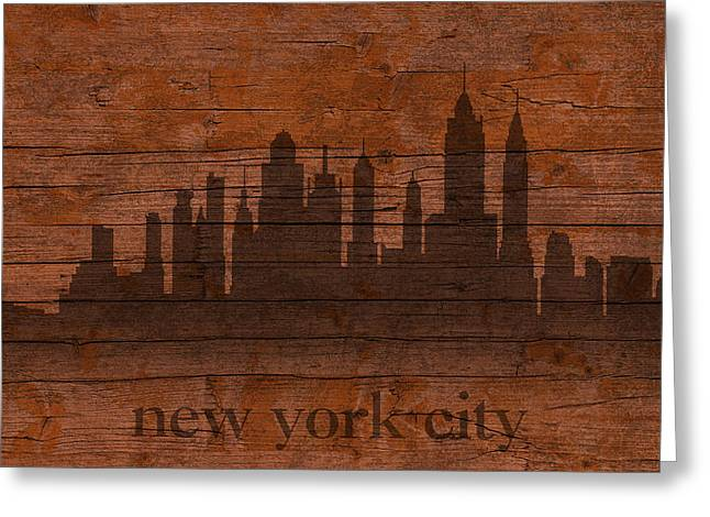 Skylines Mixed Media Greeting Cards - New York City Skyline Silhouette Distressed on Worn Peeling Wood Greeting Card by Design Turnpike