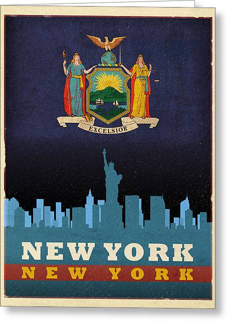 Manhattan Mixed Media Greeting Cards - New York City Skyline State Flag of New York NYC Manhattan Art Poster Series 005 Greeting Card by Design Turnpike