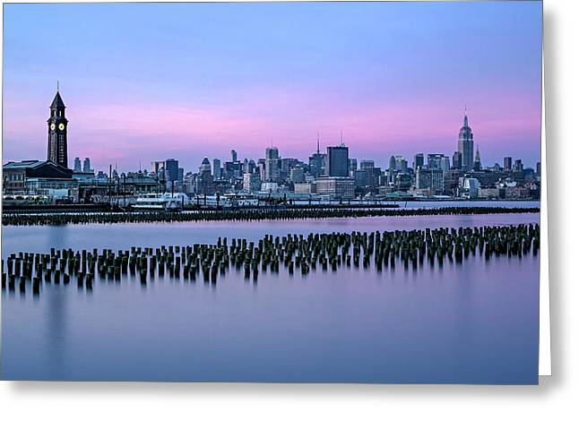 Train Depot Greeting Cards - New York City Skyline Stillness Greeting Card by Susan Candelario