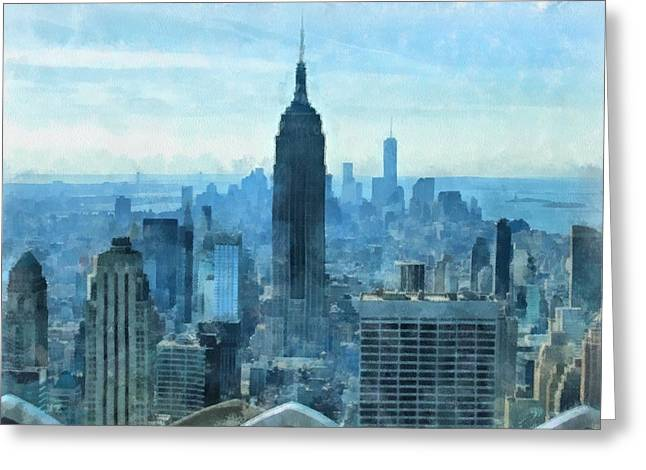 Top Of The Rock Greeting Cards - New York City Skyline Summer Day Greeting Card by Dan Sproul