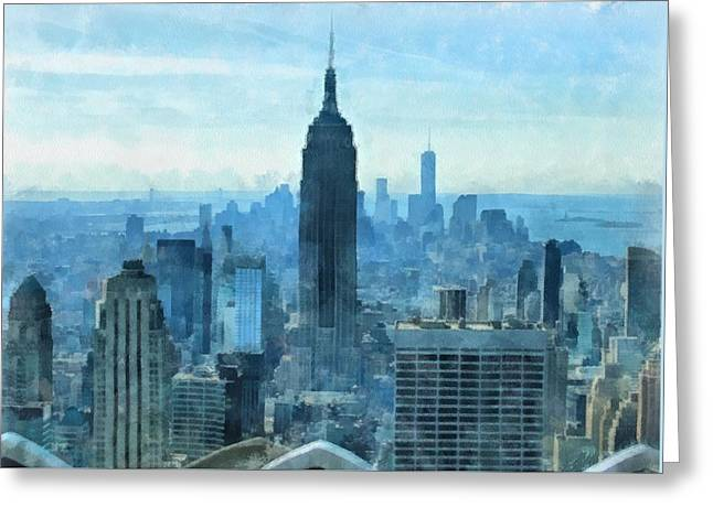 New Mind Greeting Cards - New York City Skyline Summer Day Greeting Card by Dan Sproul