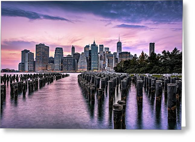 Freedom Greeting Cards - New York City Skyline Sunset Hues Greeting Card by Susan Candelario