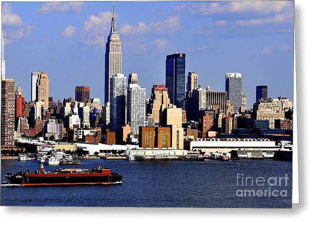 New Mind Greeting Cards - New York City Skyline with Empire State and Red Boat Greeting Card by Kathy Flood