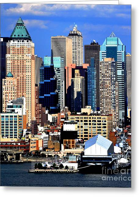 New Mind Greeting Cards - New York City Skyline with One World Wide Plaza Greeting Card by Kathy Flood