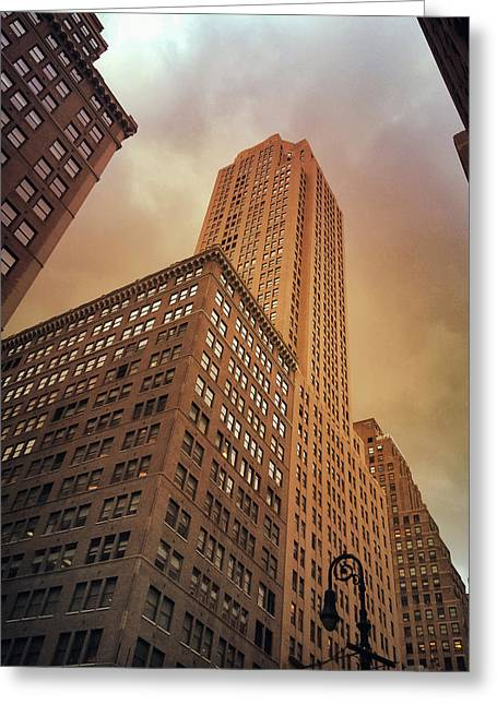 Midtown Greeting Cards - New York City - Skyscraper and Storm Clouds Greeting Card by Vivienne Gucwa