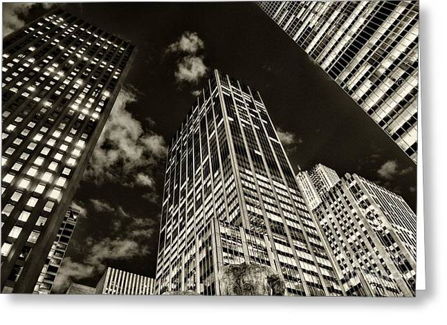 Gotham City Greeting Cards - New York City Skyscrapers  Greeting Card by Paul Ward