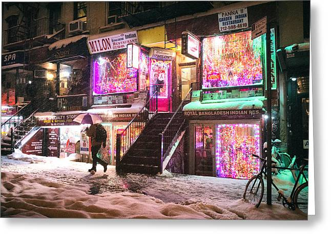 Snowstorm Greeting Cards - New York City - Snow and Colorful Lights at Night Greeting Card by Vivienne Gucwa