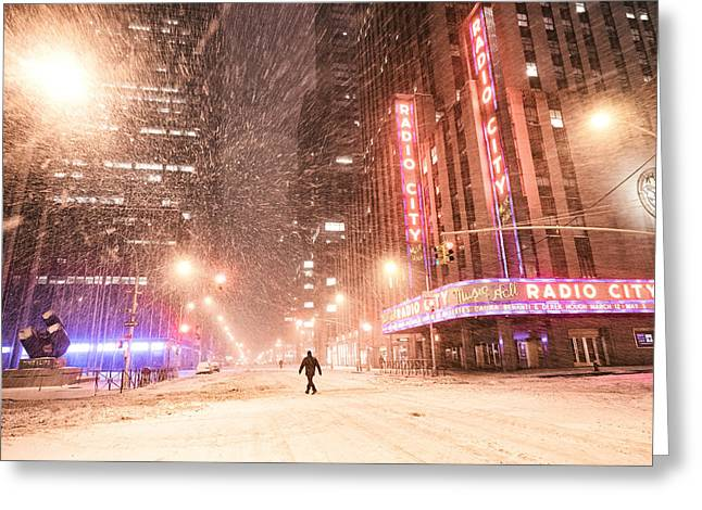 Winter Night Greeting Cards - New York City - Snow and Empty Streets - Radio City Music Hall Greeting Card by Vivienne Gucwa