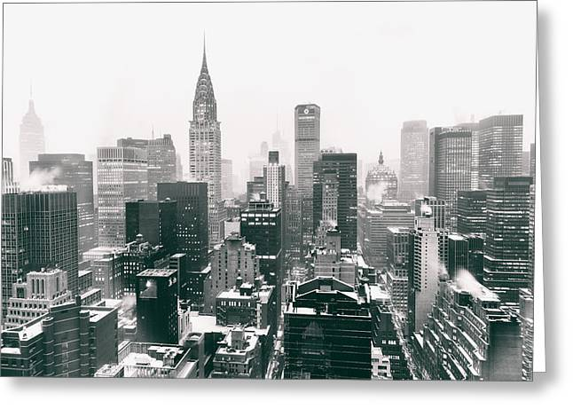Winter Photos Greeting Cards - New York City - Snow-Covered Skyline Greeting Card by Vivienne Gucwa