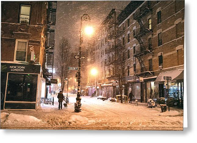 Nyc Night Greeting Cards - New York City - Snow - Lower East Side Greeting Card by Vivienne Gucwa