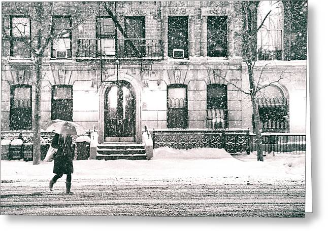 Winter Night Greeting Cards - New York City - Snowy Night in Midtown Greeting Card by Vivienne Gucwa