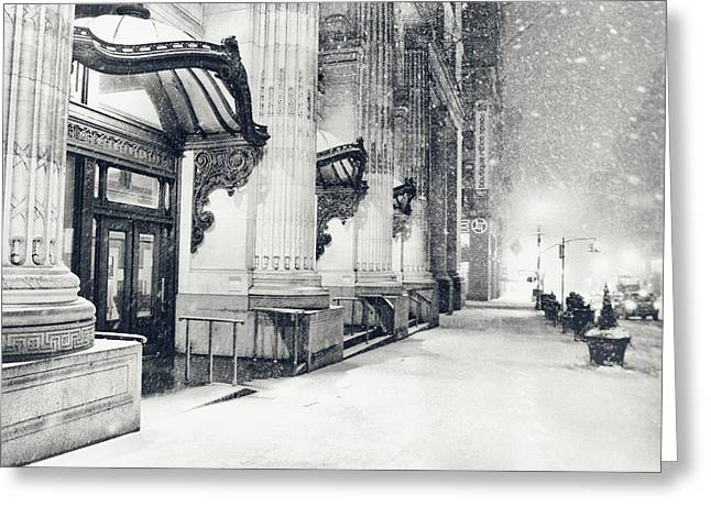 New York City - Snowy Winter Night Greeting Card by Vivienne Gucwa