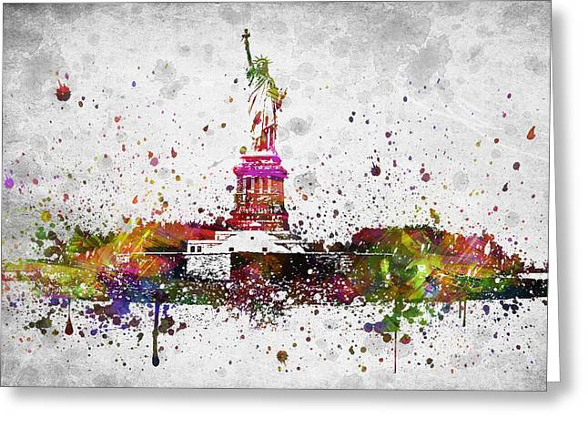 Libertas Greeting Cards - New York City Statue of Liberty Greeting Card by Aged Pixel