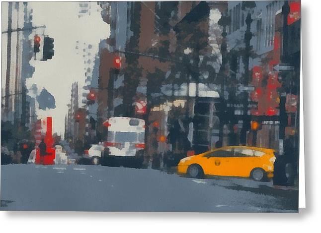 Stoplight Greeting Cards - New York City Stoplight Pop Art Greeting Card by Dan Sproul