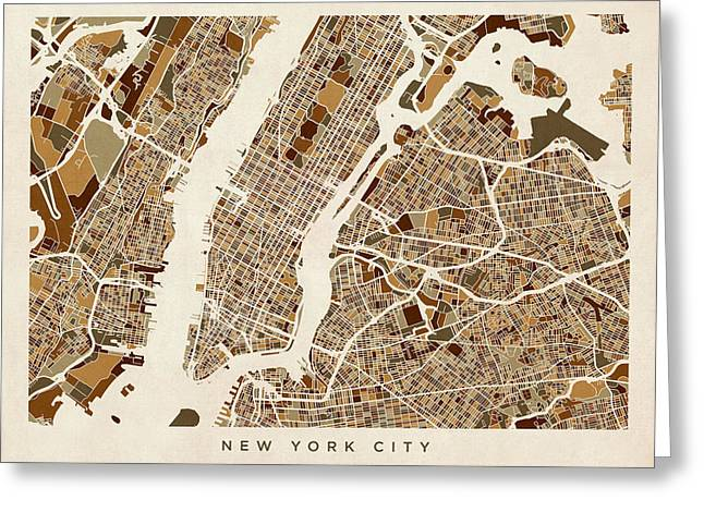 New York City Street Map Greeting Card by Michael Tompsett
