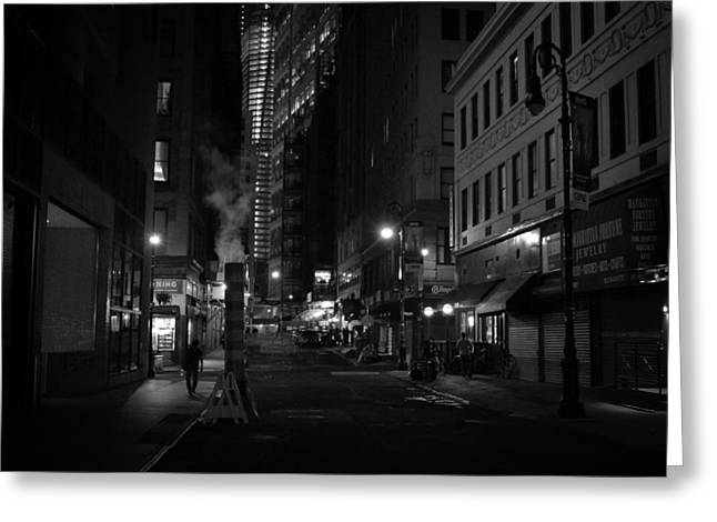 New York City Street - Night Greeting Card by Vivienne Gucwa