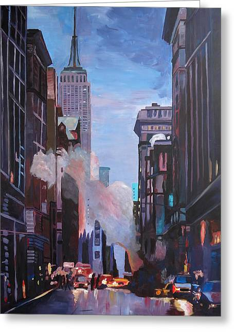 Nyc Posters Paintings Greeting Cards - New York City Street Scene with Empire State and 5th Avenue Greeting Card by M Bleichner