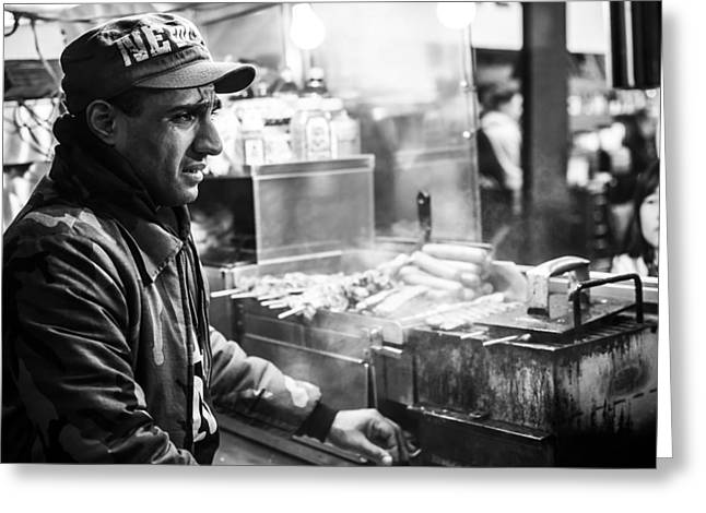 Hot Dog Stand Greeting Cards - New York City Street Vendor 2 Greeting Card by David Morefield