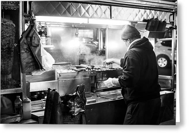 Hot Dog Stand Greeting Cards - New York City Street Vendor Greeting Card by David Morefield