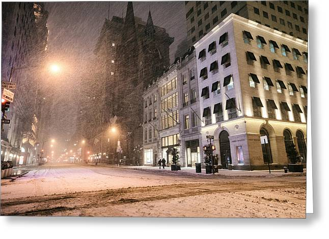 Blizzard New York Greeting Cards - New York City Streets on a Snowy Night  Greeting Card by Vivienne Gucwa