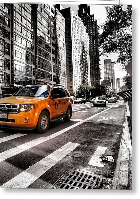 Gotham City Greeting Cards - New York City Streets - Yellow Cab Three Greeting Card by Miriam Danar