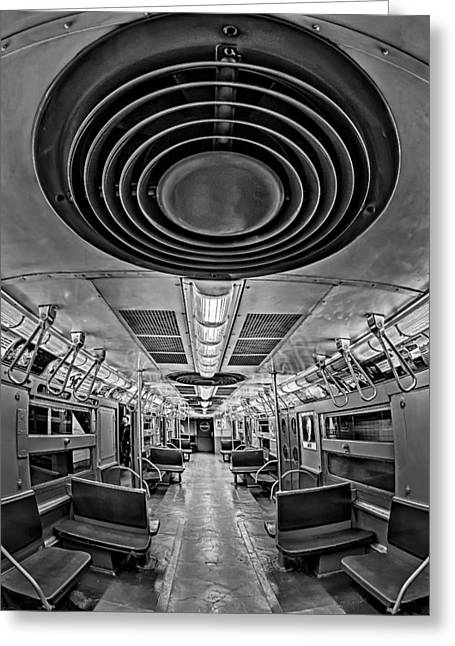 Nyc Greeting Cards - New York City Subway Train BW Greeting Card by Susan Candelario