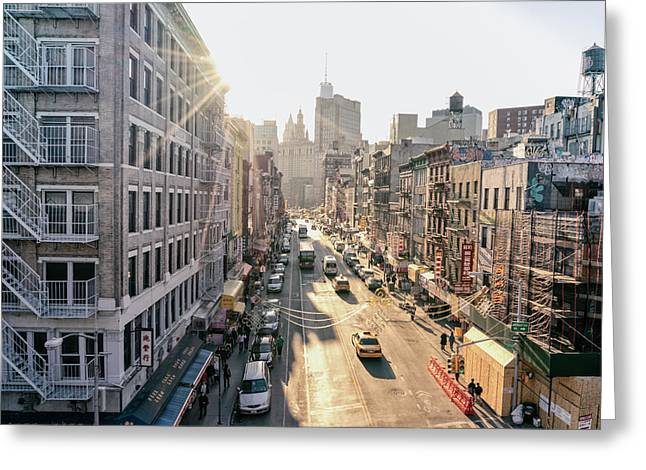 New York City - Sunset Above Chinatown Greeting Card by Vivienne Gucwa