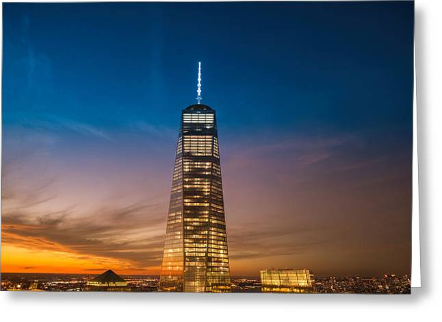 New York City - Sunset And One World Trade Center Greeting Card by Vivienne Gucwa