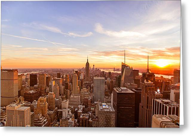 Top Of The Rock Greeting Cards - New York City - Sunset Skyline Greeting Card by Vivienne Gucwa