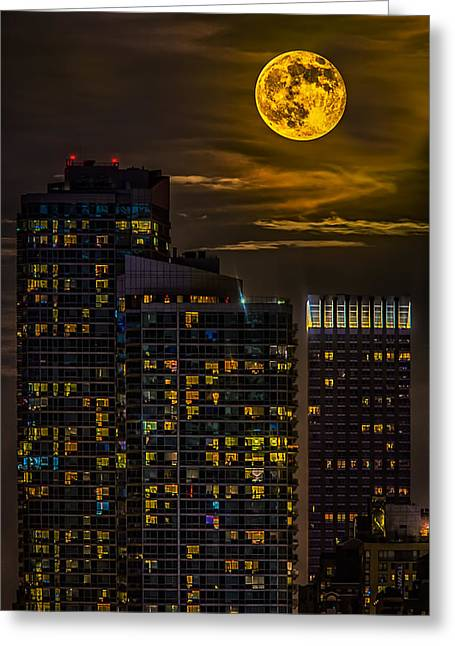 United States Of America Greeting Cards - New York City Super Moon Greeting Card by Susan Candelario