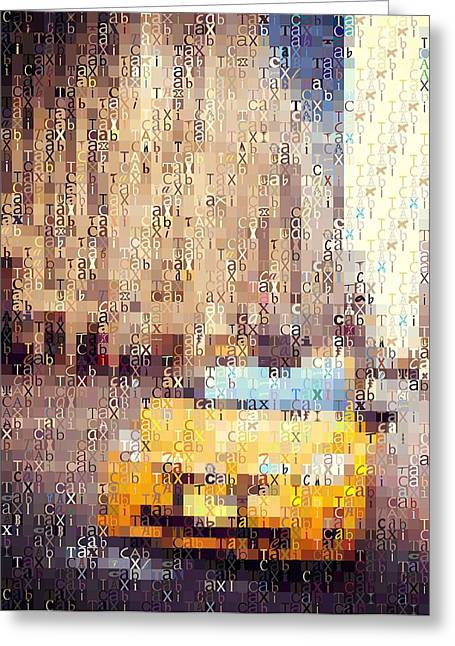 Crosswalk Greeting Cards - New York City Taxi Typography Greeting Card by Dan Sproul
