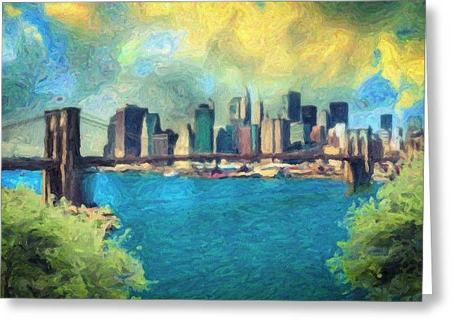 Liberty Cafe Paintings Greeting Cards - New York City Greeting Card by Taylan Soyturk