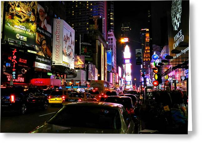 Vince Greeting Cards - New York City - Times Square 002 Greeting Card by Lance Vaughn