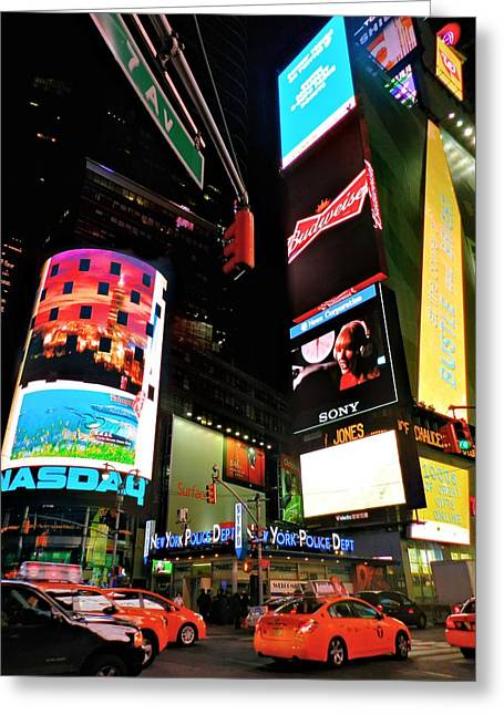Police Department Greeting Cards - New York City - Times Square 004 Greeting Card by Lance Vaughn