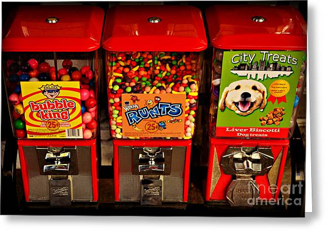 Bubble Gum Gumballs Gumball Machine Greeting Cards - Series - Urban Candy - Gumball Machines - Iconic New York City Greeting Card by Miriam Danar