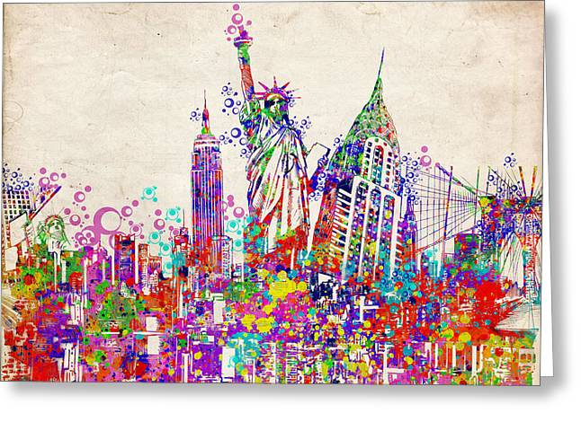 Statue Portrait Greeting Cards - New York City tribute 2 Greeting Card by MB Art factory