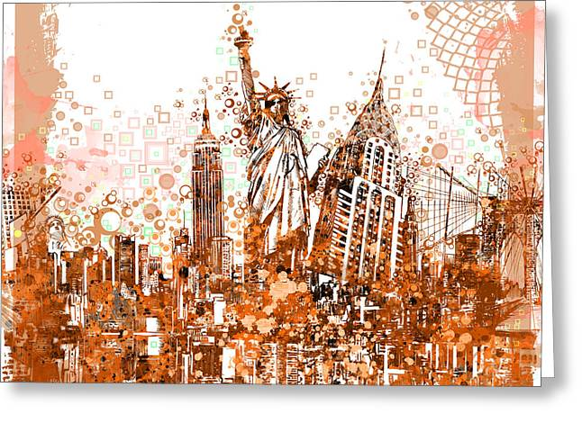 Statue Portrait Greeting Cards - New York City tribute 4 Greeting Card by MB Art factory